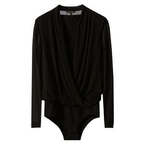 MASSIMO DUTTI Black Cross Over Blouse Bodysuit